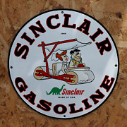 Vintage 1966 Sinclair Gasoline And039fred And Wilma Flintstoneand039 Porcelain Gas-oil Sign