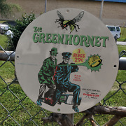 Vintage 1966 The Green Hornet Action Flicker Rings Porcelain Gas And Oil Sign