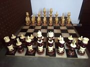 Vintage Mexican Tarascan Turned Wood And Carved Bone Chess Set With Board Case