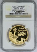 2014 Ngc 200 Niue 1 Oz Gold Donald Duck 80th Anniv Proof Coin Pf70 Ultra Cameo