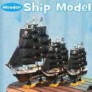 Black Pirate Ship Assembly Model Wooden Sailing Boat Scale Decoration Wood Kits
