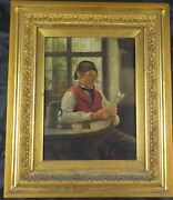 Antique Original Oil Painting By Listed German Artist Max Scholz Listed