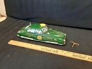 1940and039s Marx - Dick Tracy Squad Car - Wind Up/siren Tin Toy W/ Key