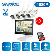 Sannce 10.1 Monitor 4ch Nvr Wireless 1080p Audio Security Ip Camera System 1tb