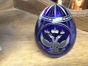 Faberge Cobalt Blue Double Phoenix Etched Glass Russian Glass Egg