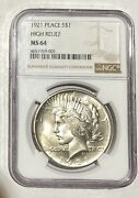 Peace Silver Dollar 1921 P Ngc Ms-64  High Relief