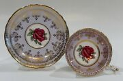 Paragon Johnson Floating Dark Red Rose Cup And Saucer Lilac Purple And Gold Filigree