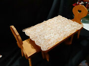 American Girl Kirsten Wooden Trestle Table And Heart Chairs Lace Tablecloth 03g6