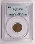 1909-s Wheat Lincoln Cent Penny Coin Pcgs Xf40