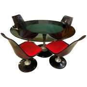Vintage Lucite Or Acrylic And Glass Tulip Table With Four Swivel Chairs By Chromcr