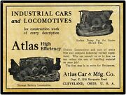 1913 Atlas Car And Locomotive Cleveland New Metal Sign - 24 X 30 Steel - 7lbs.