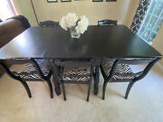 Vintage Antique Duncan Phyfe Dining Table, 6 Rose Back Chairs, 3 Leaves And Pads