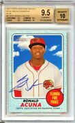 Ronald Acuna 2017 Topps Heritage Blue /75 On Card Auto Rookie Bgs 9.5 X3 10