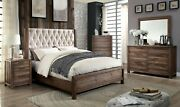 Beige Fabric Tufted Cal King Size Bed Dresser Mirror Nightstand Natural Tonewood
