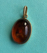 14k Yellow Gold Baltic Amber Pendant Chihuly's Flowers Like Natural Inclusions