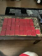Lot Of 32 Minniature Leather Books Red Collection Very Old Very Vintage