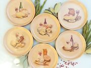 Set Of Six French 1970's Cheese Plates By Gien, France. Mid Century Cheese Plate
