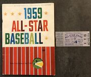1959 Mlb Baseball All-star Game Program W/ Game Day Ticket Pitts Forbes Field