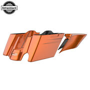 2 Into 1 Amber Whiskey Extended Stretch Saddlebags Pinstripes Fits 14+ Harley