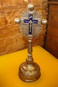 Antique Russian Orthodox Altar Blessing Cross Brass Silvered With Enamel Blue