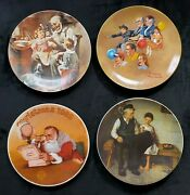 Norman Rockwell Decorative Holiday China Collectors Plates Set Of 4 1970s 1980s
