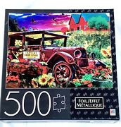 """Mb Puzzle 500 Pieces Foil.""""country Market Painting""""new/see Description. 24x18in"""