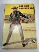 Vintage Toy Leather Cowboy Holster Guns Lone Star Wild Bill Hickok England Brown