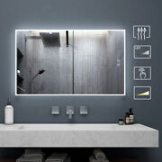 Dimmable Bathroom Mirror With Led Light Touch Switch Vanity Anti Fog Wall Mirror