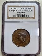 1837 Large Cent Medium Letters N-13 Ngc Ms62bn Jules Reiver Collection