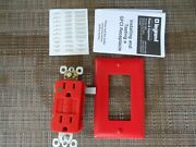 10 Pass And Seymour Legrand Hospital Grade Gfci Receptacle Red 1597hgred W/ Plate