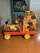 Rare Vintage Disney Mickey Mouse Wooden Pull Train W/ Working Bell 1940andrsquos-50andrsquos