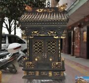 38rare Old Wood Lacquerware Carved Dragon Statue God Buddha House Shrines Fokan