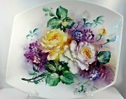 Hand Painted China Platter W/ Yellow And White Roses, Purple Flowers Signed 2013