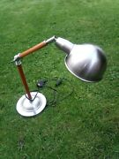 Retro Anglepoise Style Desk Lamp Metal And Wood Unusual Rare. Table Lamp