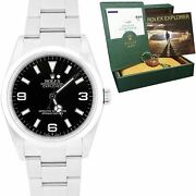 2002 Rolex Explorer I Black 36mm Automatic Stainless Oyster Watch 114270 B+p