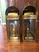 Antique Pair Of Davey.and Co London Brass Marine Oil Lamp Converted To Electric