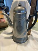 C1820 Eben Smith Beverly Ma Lighthouse Pewter Federal Coffee Pot Engraved Shield