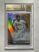 Bgs 9.5/10 Wander Franco Auto 2019 Bowmanand039s Best Gold Refractor /50 Rc Gem Mint
