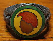 Rare 1940and039s Hawaii National Guard Ring Sterling Enamel No Abuse Excellent