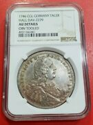 Ngc Hall 1746 Au-details 1 Thaler Silver Germany Very Rare Mintage 800 Aunc