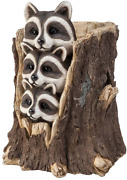 Wind And Weather Solar Three Raccoons In A Stump Sculpture 14.5and039and039 Dia. X 18.25and039and039h