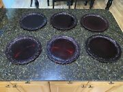 Lot Of 6 Vintage Avon Cape Cod Collection Ruby Red Glass Dinner Plates