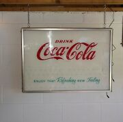 Vintage 1950/60s Coca Cola Vending Machine Face Plate Lighted Sign 33 X 24