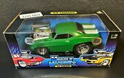 Muscle Machines Lime Green 69 Camaro Real Steel Braided Fuel Lines 118 Scale