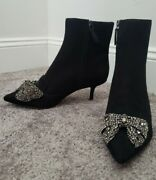 Esme Booties Suede Leather Black New Size 7 M Sold Out Hard To Find