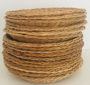 Wicker Woven Picnic Paper Plate Holders Rattan Wall Decor 10 Inches Set Of 18