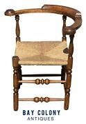 18th C Antique Queen Anne Tiger Maple Roundabout / Corner Chair W/ Rush Seat