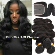 Pre Plucked 3bundles T Part Lace Closure Virgin Human Hair Extension Weft Indian