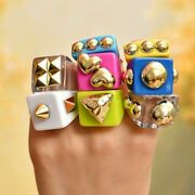 Solid Color Irregular Resin Rings Gold Tone Ball Shape Index Finger Geometric