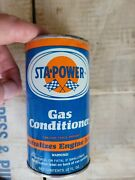 Vintage 1960and039s Sta-power Gas Conditioner Oil Can 12 Oz Unopened Full Qty 47